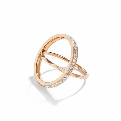 リング 指輪 2本セット 金属アレルギー対応 細めリング ラインストーンド ローズゴールド チタンスチール キラキラ アクセサリー DTC-628740248866