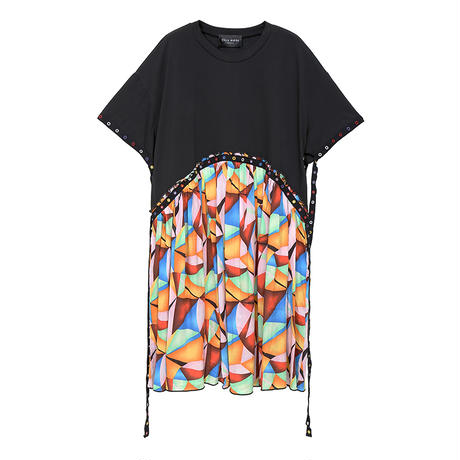 ワンピース プリーツ ベルフラワー プリント 韓国ファッション レディース ゆったりウエスト 大人カジュアル 大人可愛い ルーズ 618488203302