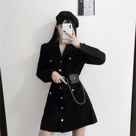 ワンピース ベルト付き ポケットチェーン ジャケット風 韓国ファッション レディース シングルブレスト ハイウエスト ガーリー DTC-624889485862