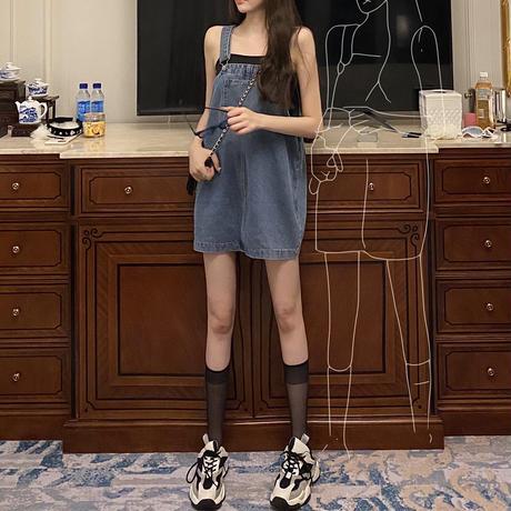 デニム ストラップスカート 薄手 サロペット ルーズ 韓国ファッション レディース サスペンダースカート カジュアル ガーリー DTC-619803825196