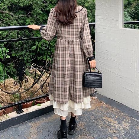 チェック柄 aラインワンピース リボン ロング ハイウエスト フレア 韓国ファッション レディース 重ね着風裾 長袖 大人可愛い ガーリー フェミニン DTC-630727528236