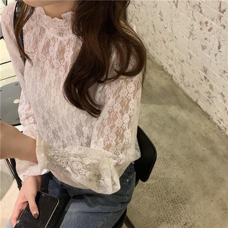 ブラウス 花柄レース 刺繍 タートルネック 韓国ファッション レディース トップス 長袖 ゆったり カットソー 大人可愛い ガーリー DTC-626180646919