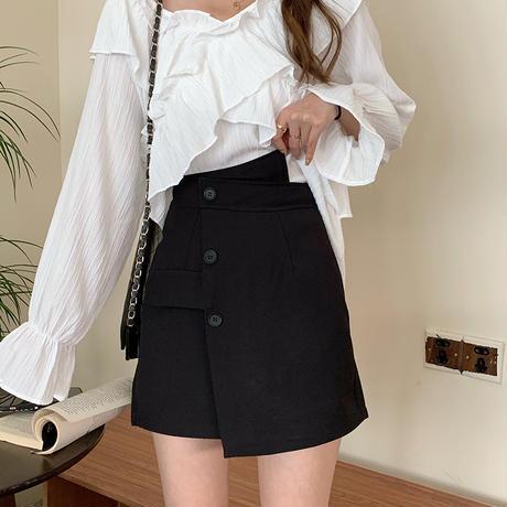 2点セット フリルブラウス + アシンメトリーミニスカート Vネック 長袖 フロントボタン 韓国ファッション レディース セットアップ 大人可愛い ガーリーDTC-641245079395)