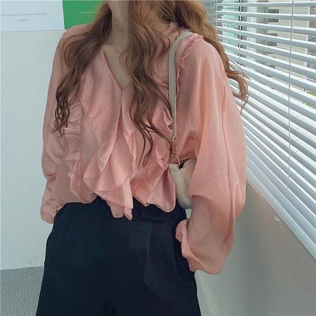 フリル ブラウス Vネック 長袖 韓国ファッション レディース トップス ゆったり カットソー 大人可愛い ガーリー DTC-623229289562