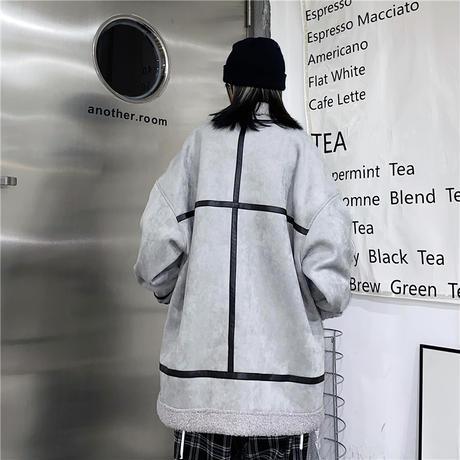 ボアジャケット ショートコート ムートンコート ラムウール スウェード フェイクムートン 韓国ファッション レディース ジップアップ カジュアル ストリート系 DTC-634314346102