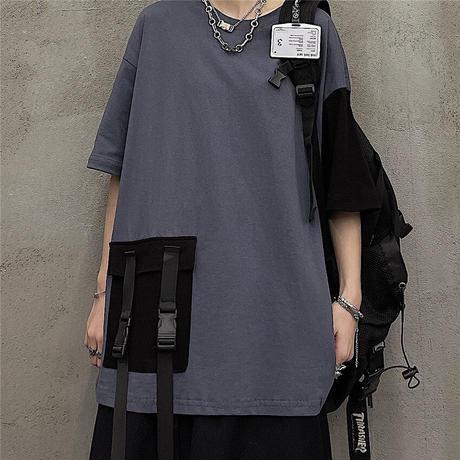 ユニセックス Tシャツ バイカラー バックルパッチポケット 半袖 オーバーサイズ メンズ レディース 大きめ ルーズ カジュアル ストリート ファッション DTC-638151645947