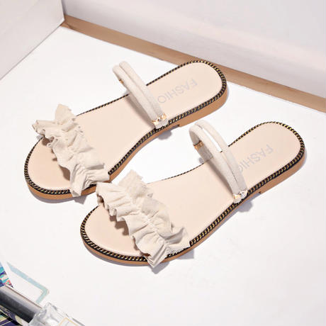 レディース 厚底サンダル フリルサンダル フラットサンダル ソールにクマ インスタ映え ビーチサンダル 韓国ファッション (DCT-590383654076)