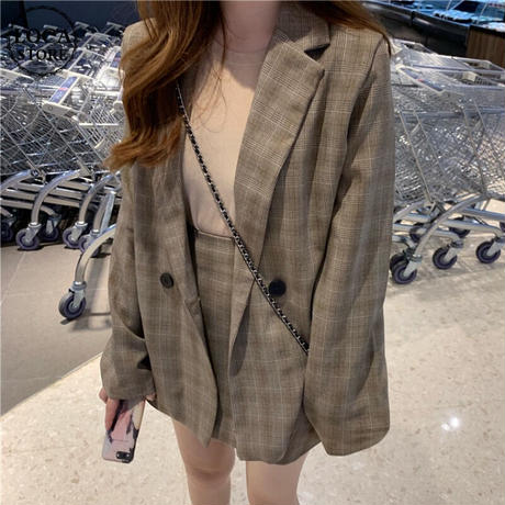 セットアップ チェック柄 テーラードジャケット + スカート韓国ファッション セット レディース ハイウエスト 大人可愛い レトロ ガーリー DTC-602687382914