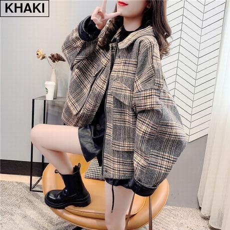 チェック柄 ブルゾン ジャケット オーバーサイズ ウール 韓国ファッション レディース ショートコート ゆったり アウター 体型カバー 防寒 カジュアル ガーリー DTC-626375877036