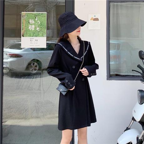 ミニバッグ付き ジャケット風 ワンピース ダブルブレスト 長袖 韓国ファッション レディース コート風 ゆったり 大人可愛い ガーリー DTC-627397716526