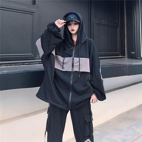 ユニセックス プルオーバー パーカー バイカラー ジップアップ 韓国ファッション メンズ レディース オーバーサイズ カジュアル ストリート系 DTC-630761589875