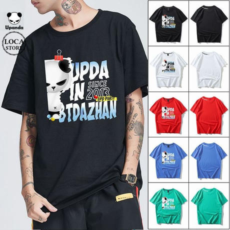UPANDA 【5カラー】ユニセックス メンズ/レディース 半袖 Tシャツ クリップパンダ パンダプリント 人気 インスタ ストリート系 (DCT-597026109273)