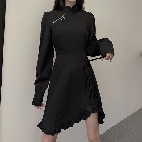 不規則デザイン ワンピース ハイウエスト ジッパー アシンメトリー 韓国ファッション レディース アシメ 無地 暗黒系 ダーク ガーリー DTC-634172142585