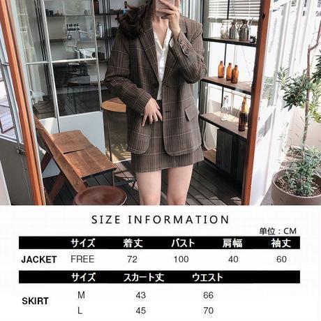 セットアップ テーラードジャケット + ミニスカート 韓国ファッション レディース ジャケット ブレザー ハイウエスト ミニスカート チェック柄 レトロ 秋 冬 (DCT-601384328311)