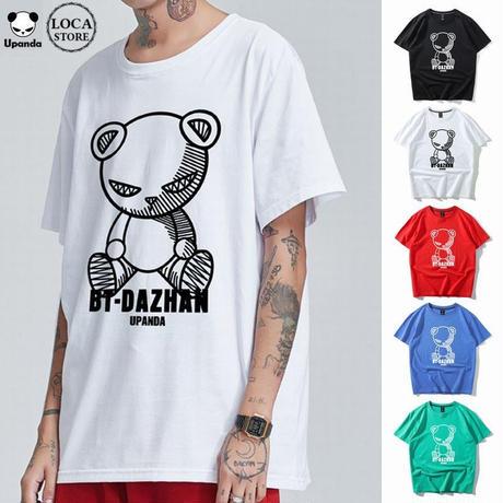 UPANDA 【5カラー】ユニセックス メンズ/レディース 半袖 Tシャツ パンダプリント 人気 インスタストリート系 (DCT-596968018832)
