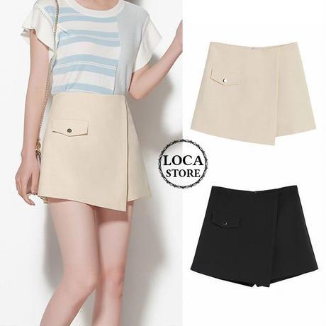 レディース  ショートパンツ ラップショートパンツ パンツ ショート丈 キュロット ガーリー 韓国ファッション (DCT-591138767079)