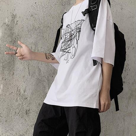 ユニセックス Tシャツ 半袖 メンズ レディース ラウンドネック 英字 グラフィティプリント オーバーサイズ 大きいサイズ ルーズ ストリート TBN-613494810897