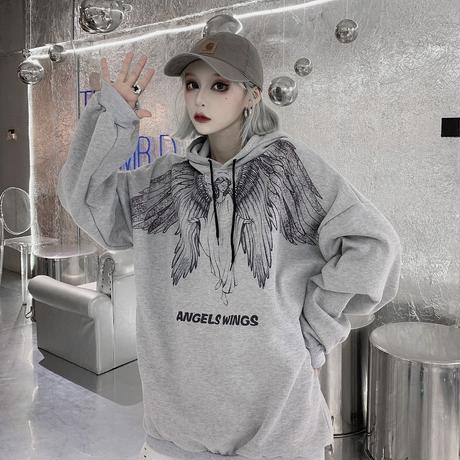 プルオーバー パーカー ユニセックス プラスベルベット 韓国ファッション メンズ レディース 天使 羽 プリント オーバーサイズ ストリート カジュアル DTC-604563611550