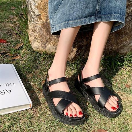 クロスベルト サンダル オープントゥ 厚底 アンクルストラップ ブラック 韓国ファッション レディース 厚底サンダル フラットサンダル トレンド 歩きやすい DTC-641490721912