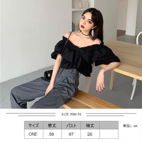 2WAY ブラウス オフショルダー Vネック フリル 半袖 韓国ファッション レディース トップス 無地 大人可愛い ガーリー レトロ DTC-619802105650_t