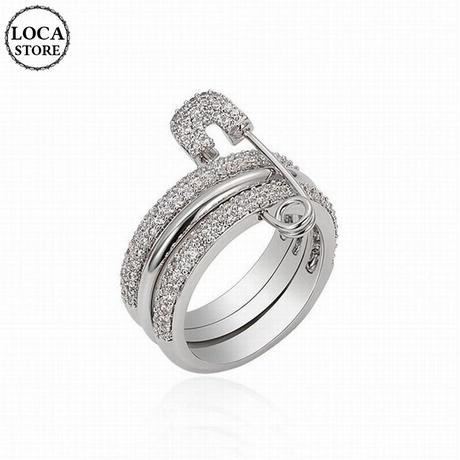 リング 指輪 安全ピンモチーフ キュービックジルコニア 韓国アクセサリー 3連リング CZ 合金 アクセサリー ジュエリー (DTC-608877143532)