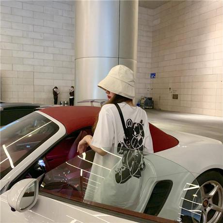 レディース 可愛いクマプリント Tシャツ ラウンドネック ゆったり 半袖 インスタ映え 韓国ファッション ホワイト ピンク (DCT-596629678942)