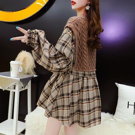 ドッキングトップス ケーブル編み ニット + チェック チュニック ブラウス 韓国ファッション レディース フェイクレイヤード 大人カジュアル ガーリー DTC-625594971753