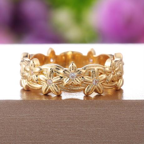 ハワイアンデザイン リング 指輪 花 プリメリア 石 レディース メンズ メッキ K14ゴールド 銅 アクセサリー DTC-a631247617841