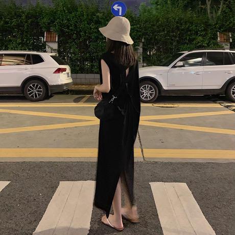 ワンピース ノースリーブ オープンバック 背中開き 韓国ファッション レディース ラウンドネック ゆったりウエスト 大人カジュアル 大人可愛い ガーリー (DTC-617923151171)