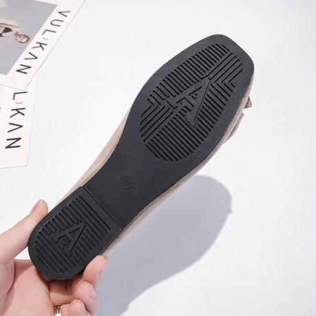 フラットパンプス リボン スクエアトゥ 韓国ファッション レディース ぺたんこ パンプス スエード フラットシューズ キュート 痛くない かわいい 歩きやすい 588077173200
