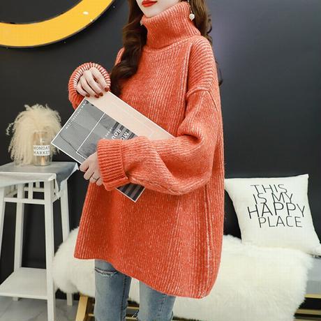 ニット セーター タートルネック 厚い 韓国ファッション レディース ハイネック トップス ルーズ ゆったり ウール 体型カバー 大人可愛い ガーリー DTC-629244791892