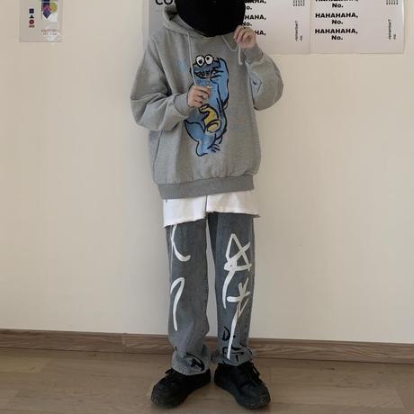 プルオーバー パーカー メンズ レディース ユニセックス 落書き風 キャラクター オーバーサイズ ルーズ 大きいサイズ ストリート TBN-601494162221
