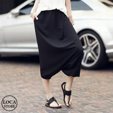 レディース ハーレムパンツ サルエルパンツ クロップドパンツ ダンス ヨガ スカート風パンツ スカンツ 韓国ファッション (DCT-533336068295)