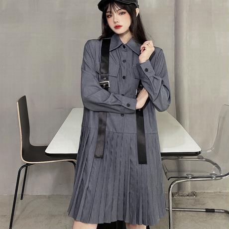シャツワンピース プリーツスカート ベルト 韓国ファッション レディース ハイウエスト 長袖 ガーリー カジュアル DTC-625645653399