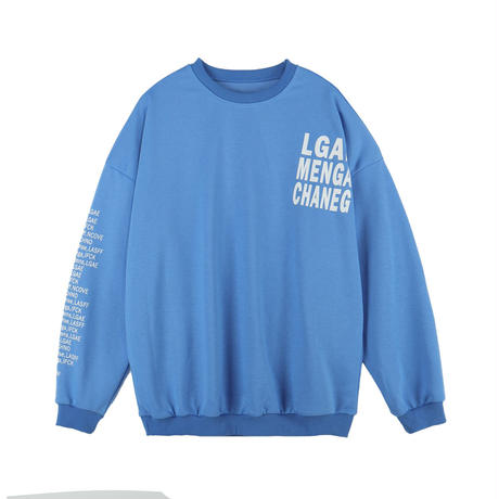 ユニセックス トレーナー レタープリント 袖プリント ラウンドネック オーバーサイズ 長袖 韓国ファッション メンズ レディース カジュアル ストリートファッション DTC-654319784187