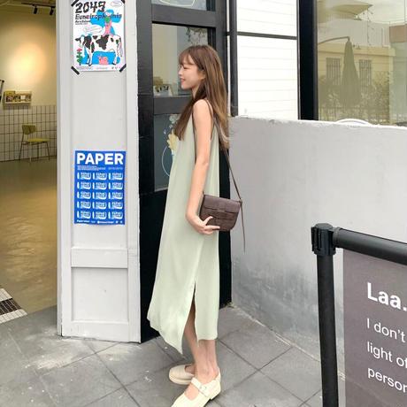 キャミワンピース ロング丈 ノースリーブ ルーズウエスト スリット 韓国ファッション レディース スリングワンピース 大人可愛い ガーリー DTC-641050941433