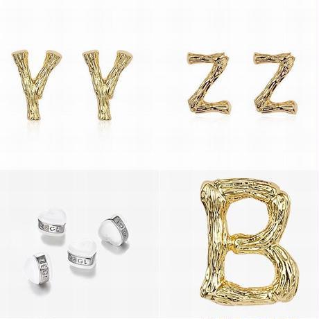 ピアス アルファベット A~Z イニシャル ゴールド 韓国アクセサリー キラキラ 合金 シルバー925 アクセサリー DTC-613509861164
