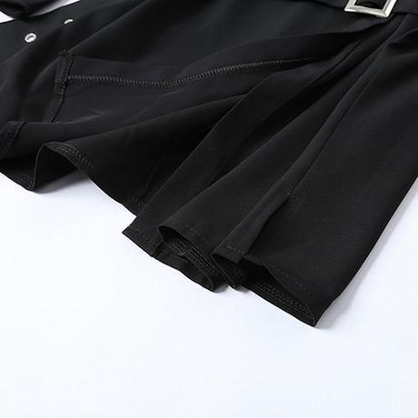 シャツワンピース ベルトショルダー ストラップ ウエストベルト オフショルダー 韓国ファッション レディース 長袖 ブラウス トップス カットソー DTC-623398338586