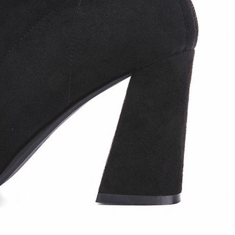 ショートブーツ チャンキーヒール 8.5cmヒール バックジップ 歩きやすい 履きやすい レディース ストレッチブーツ おしゃれ 大人可愛い ガーリー DTC-575044795144