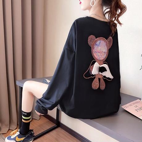 トレーナー 羽 エンジェルくまちゃん 薄手 シンプル ルーズ 韓国ファッション レディース トップス 大きめ ガーリー カジュアル ストリートファッション DTC-651472313621