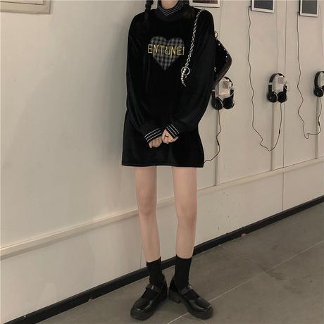 トップス ハーフハイネック 長袖 刺繍 ミディアム丈 ルーズ 韓国ファッション レディース ブラック 大人可愛い かわいい ガーリー 635758173282