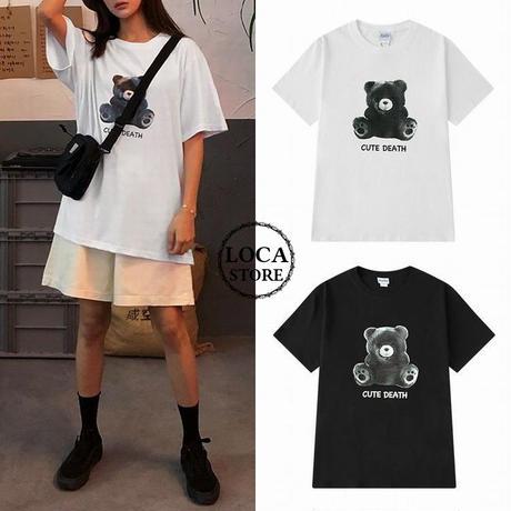 ユニセックス メンズ/レディース 可愛いクマと「CUTE DEATH」プリント Tシャツ 大きいサイズ ストリート 韓国ファッション (DCT-592858476505)