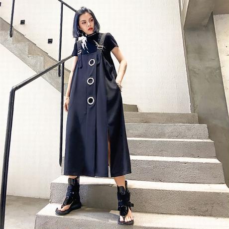ジャンパースカートリングデザイン 韓国ファッション レディース サロペットワンピース サロペット オーバーオール サイドスリット 大人カジュアル DTC-615844494142