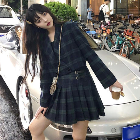 セットアップ チェック柄 ショートジャケット + プリーツスカート 韓国ファッション レディース セット 長袖 ルーズ 大人可愛い ガーリー DTC-629341092101