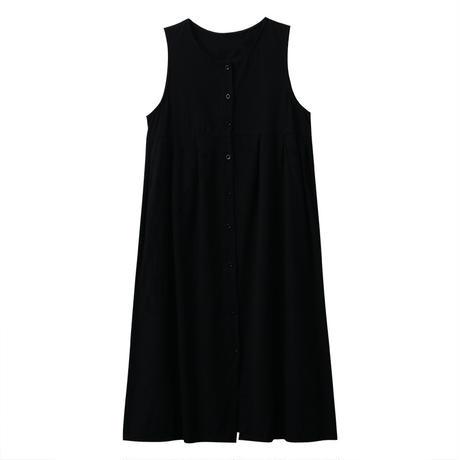 ワンピース ノースリーブ フロントボタン 韓国ファッション レディース シンプル シングルブレスト ガーリー DTC-599576065242
