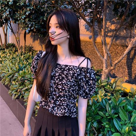 花柄 2WAYブラウス オフショルダー クロップド丈 パフ袖 半袖 薄手 韓国ファッション レディース トップス ショート丈 大人可愛い ガーリー フェミニン DTC-645233490125
