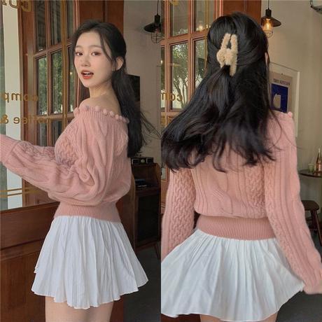 ニット セーター 2カラー オフショルダー ケーブル編み プルオーバー 韓国ファッション レディース トップス アプリコット ピンク 大人可愛い かわいい ガーリー 637347051558