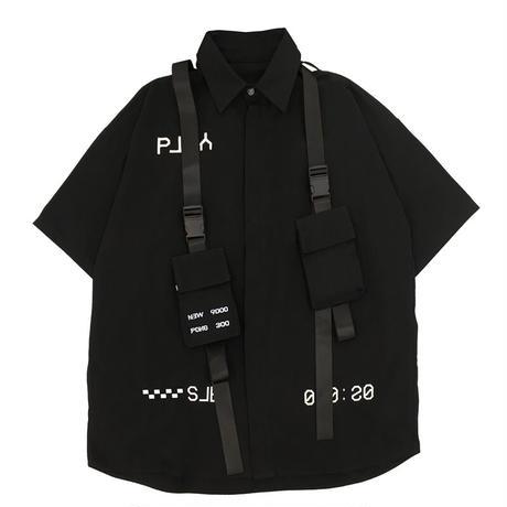 シャツ ブラウス ウェビングポケット ミリタリー 韓国ファッション レディース トップス ワークウェア ゆったり かっこいい DTC-614771595194