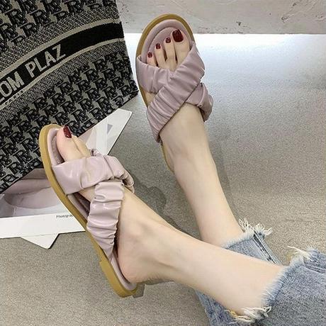 フラットサンダル クロスストラップ スリッパ コンフォートサンダル 韓国ファッション レディース サンダル ぺたんこ キュート 痛くない かわいい 歩きやすい 619149138473