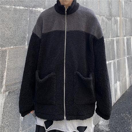 ユニセックス ボアブルゾン ラムウール メンズ レディース ボアジャケット バイカラー フリース オーバーサイズ 大きいサイズ ルーズ ストリート TBN-627062313308